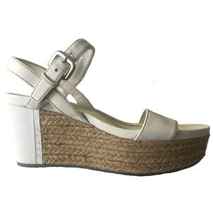 Prada White Leather Platform Raffia Wedge Sandals